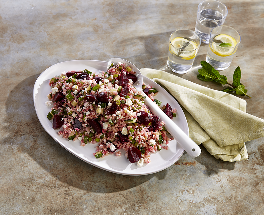 Beetroot and feta salad with rice