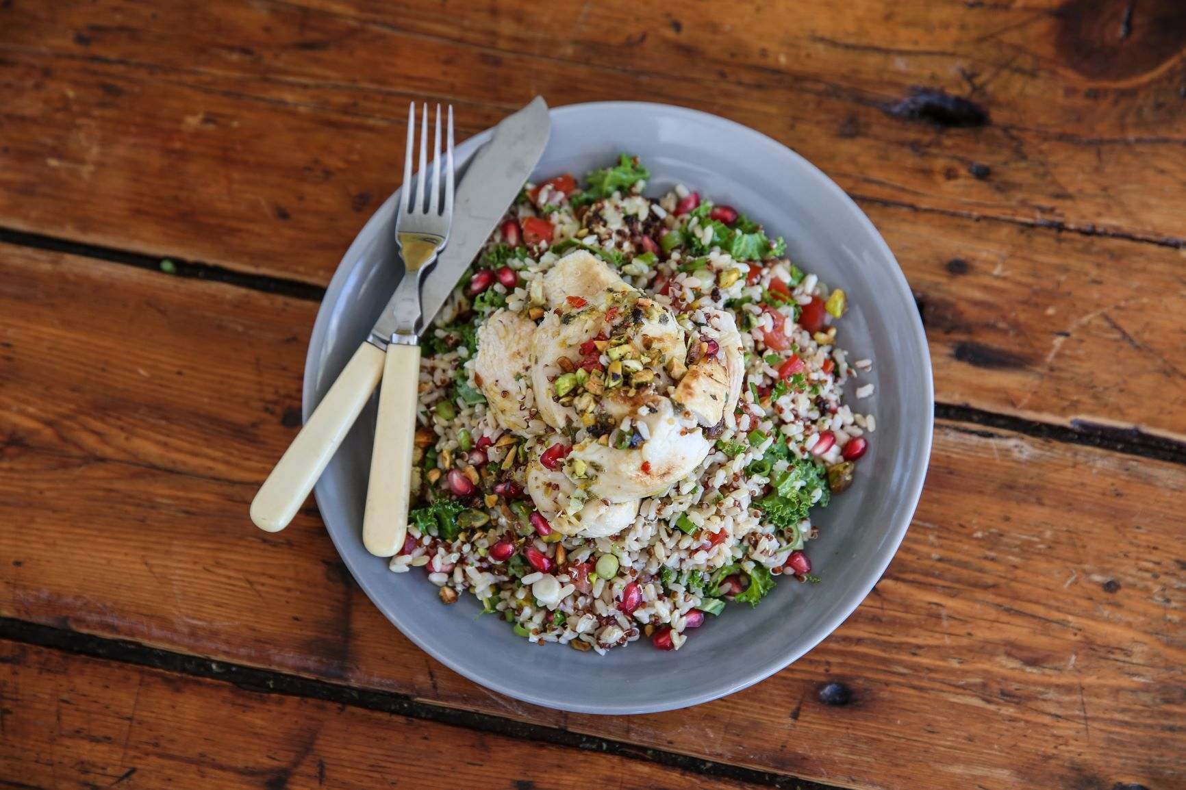Brown rice Quinoa Tabbouleh with Greek spiced Chicken