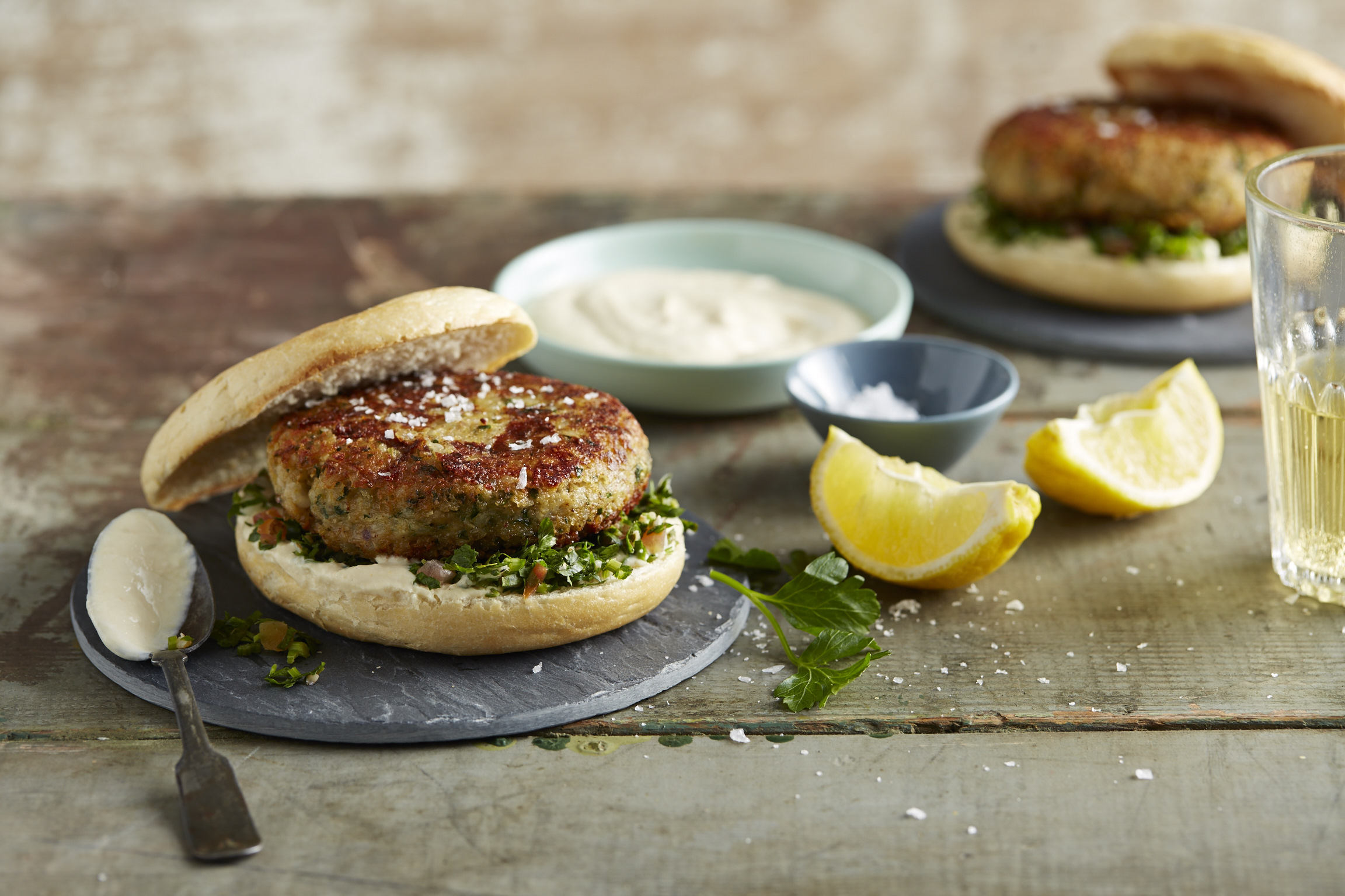 Brown Rice & Chickpea Falafel Burgers