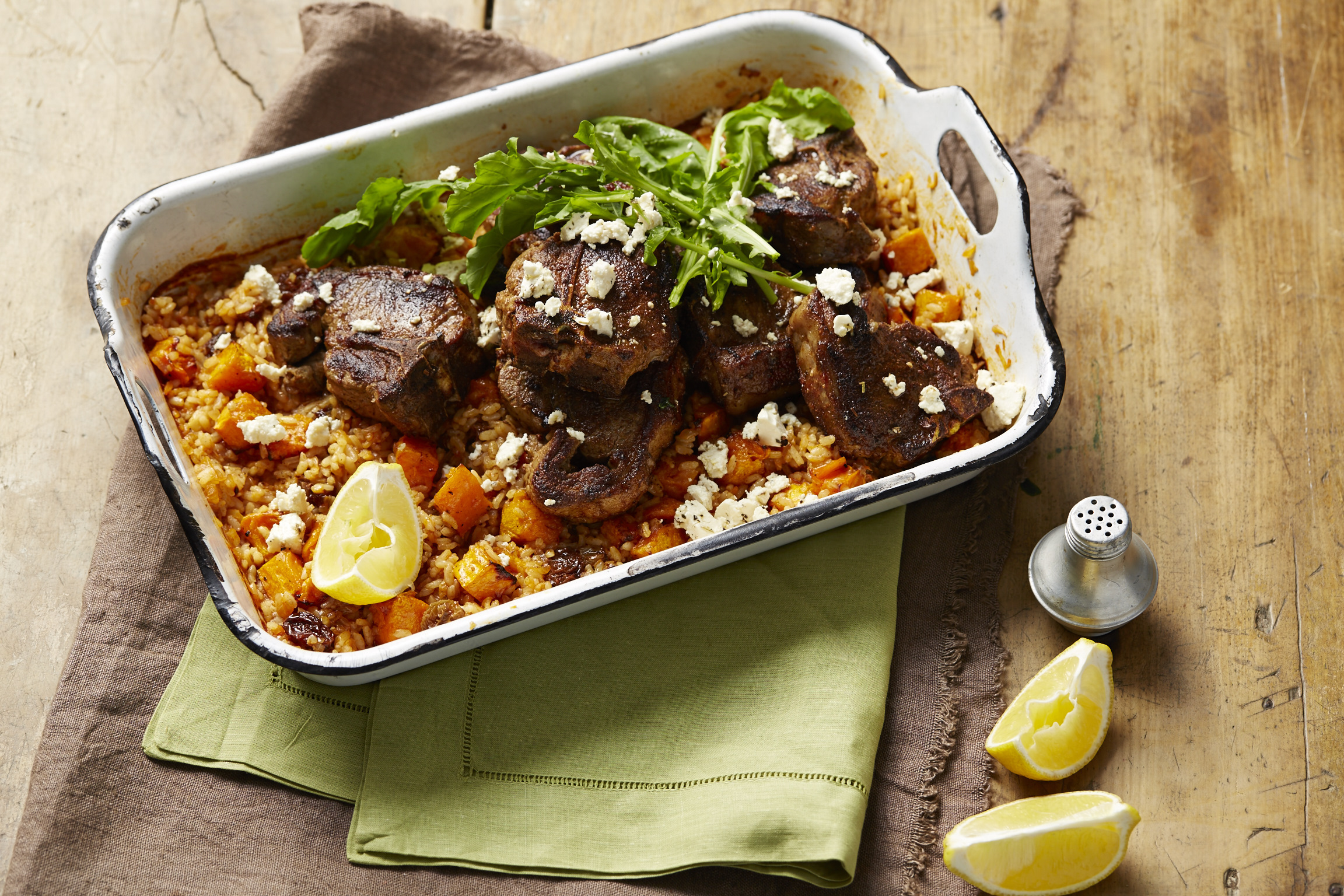 Moroccan Spiced Lamb with Roast Pumpkin, Feta, Rocket & Rice
