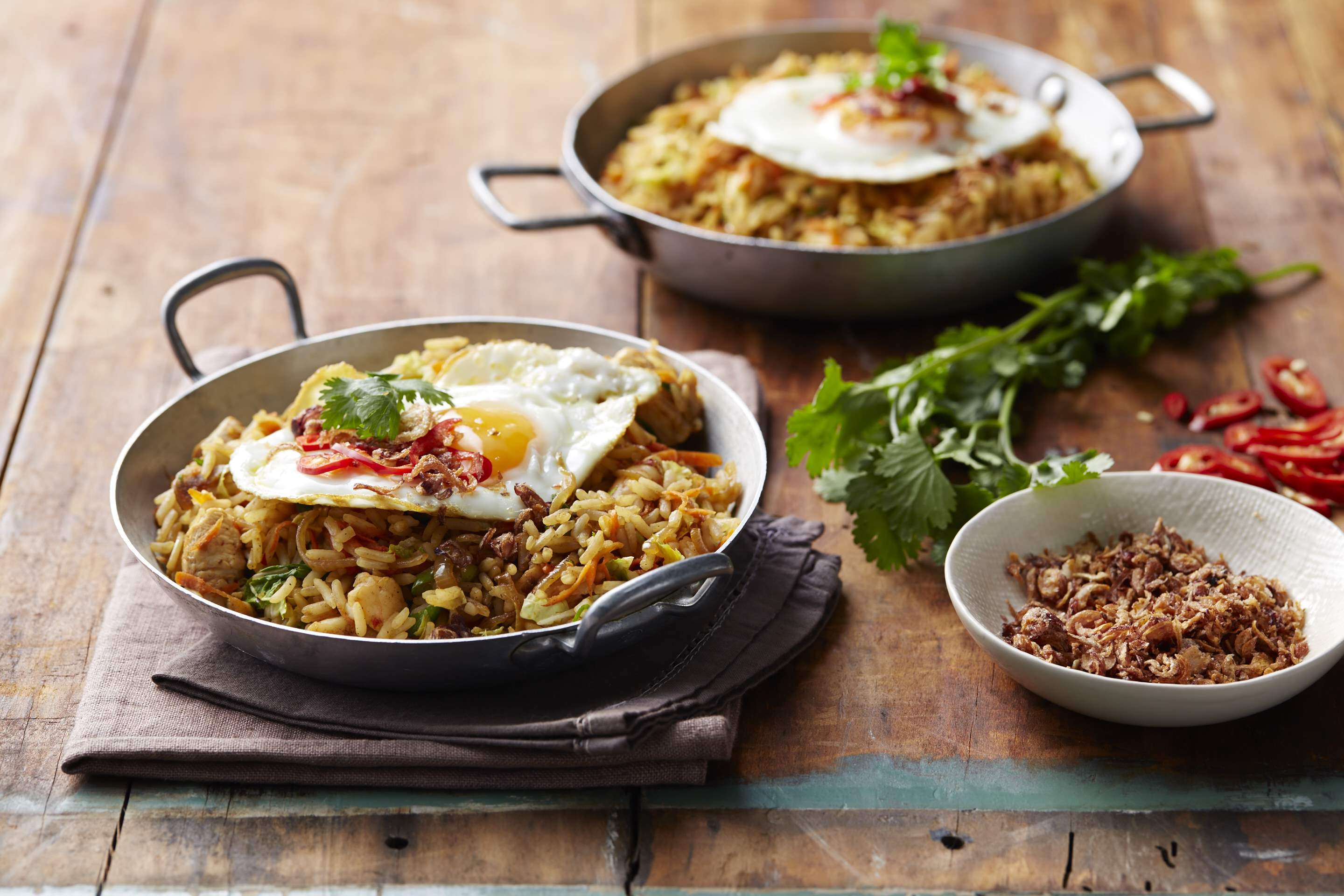 Nasi goreng rice topped with egg