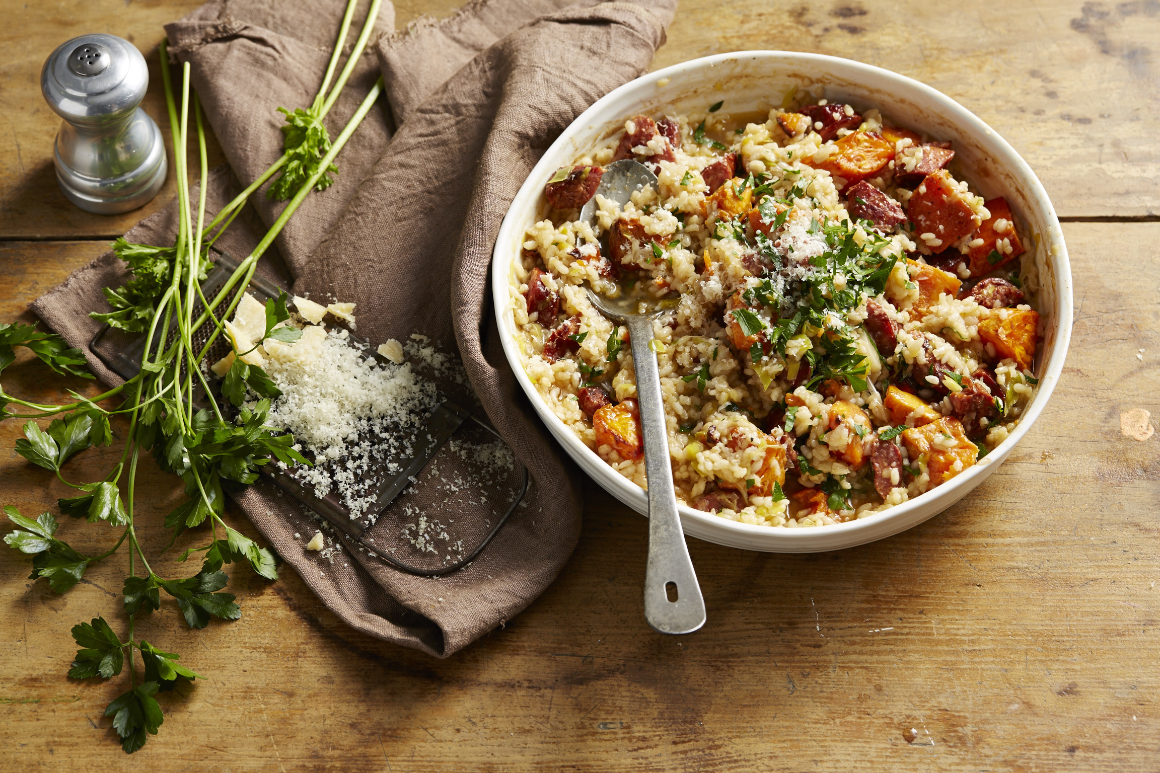 Oven Baked Chorizo & Sweet Potato Risotto