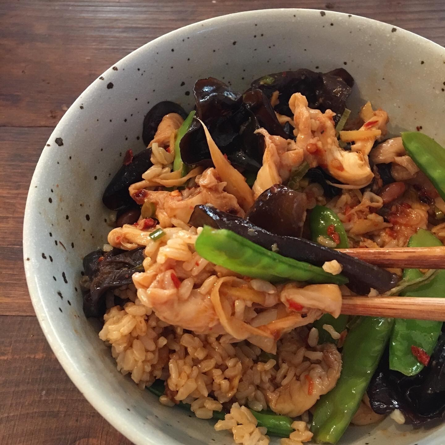 Poh's Oyster Mushroom & Snowpea Stir Fry with Chilli Bean Sauce