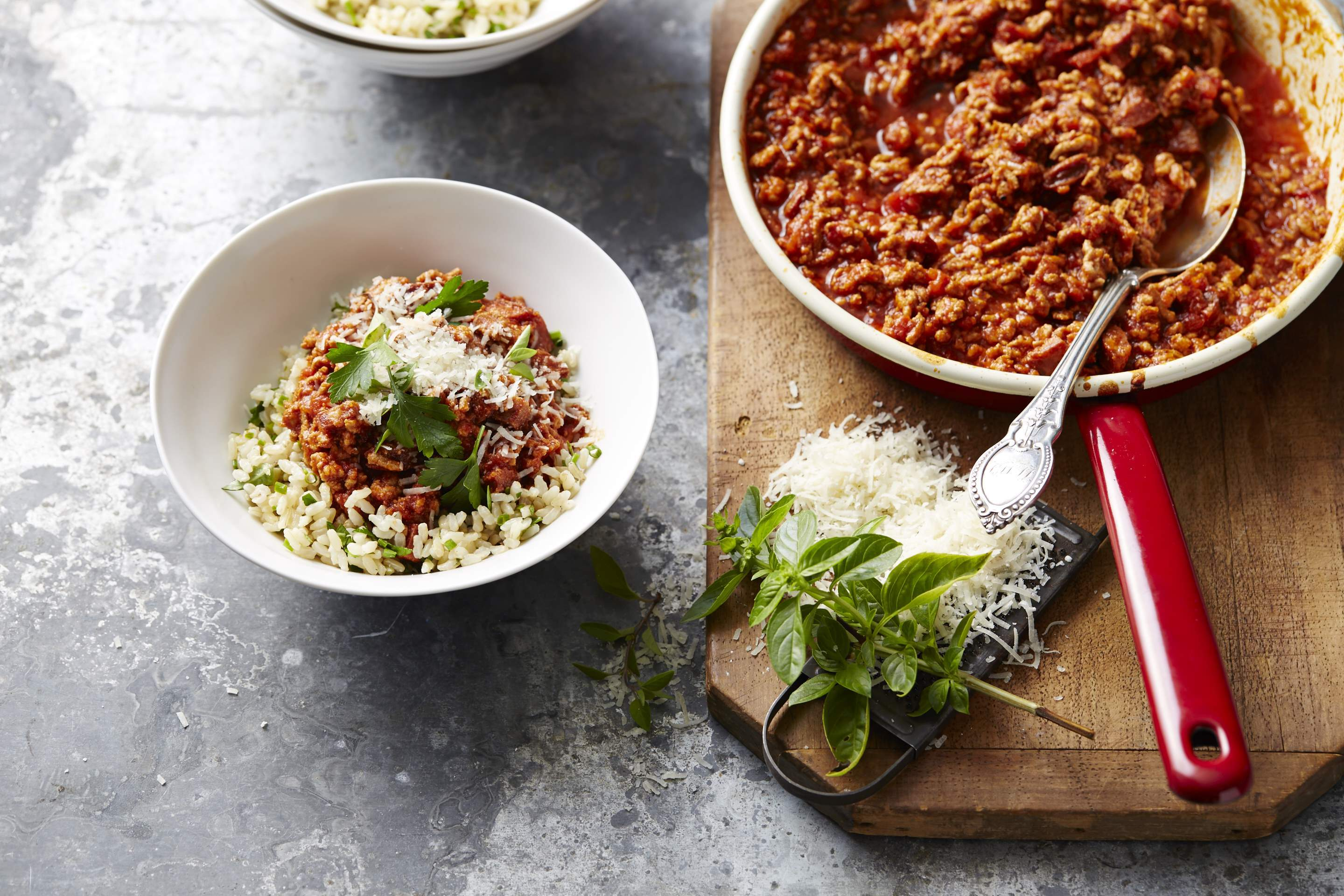 Chilli pork ragu on rice