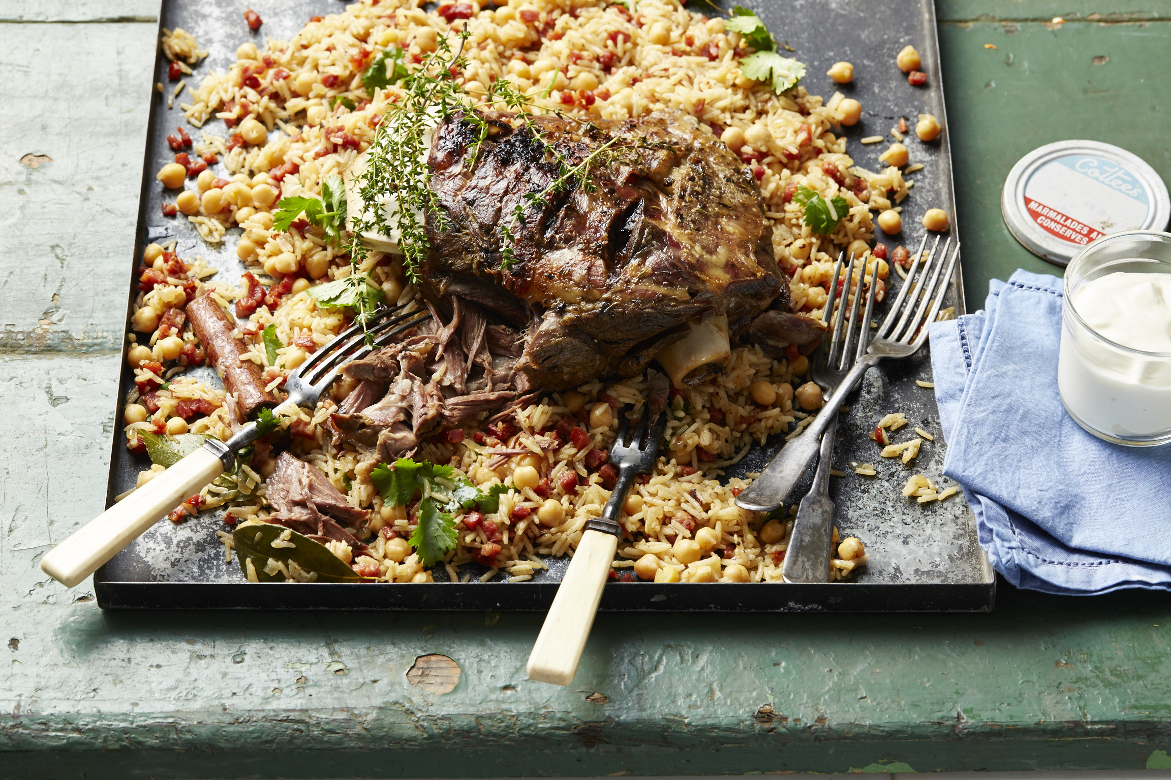 Slow Cooked Lamb with Chorizo & Chickpea rice