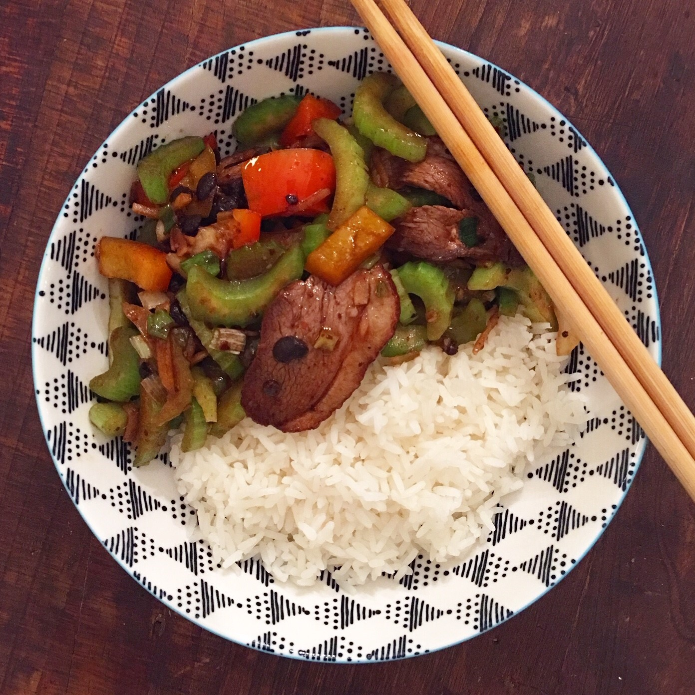 Smoked Duck Celery and Black Bean Stirfry