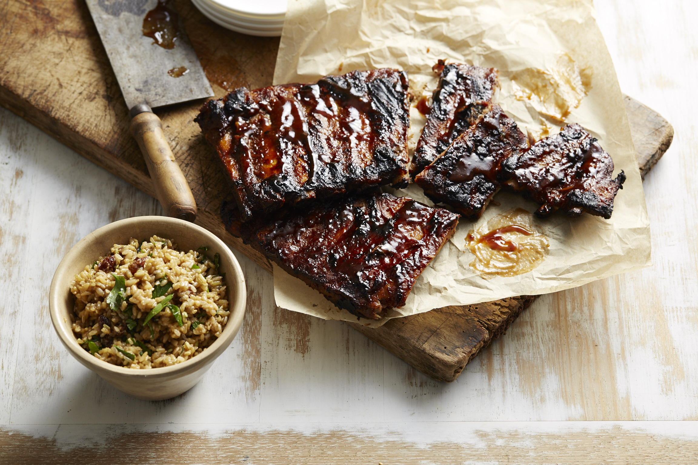 Sticky pork ribs with brown rice pilaf