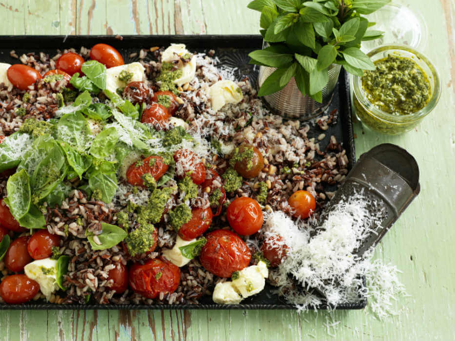 Tomato and basil rice salad