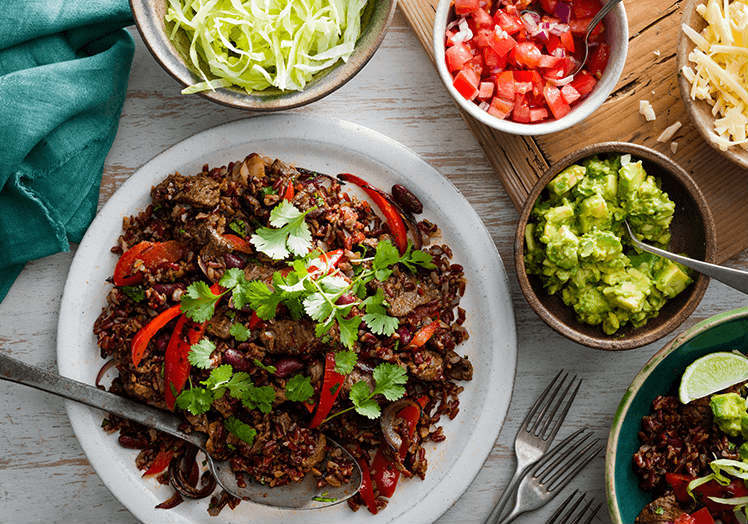 Beef fajita bowl with vegetables
