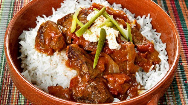 Beef goulash on white rice