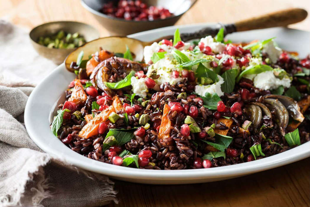Jewelled black rice salad