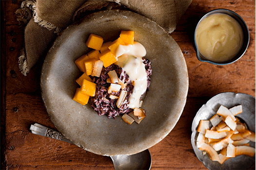 Poh's Black Rice with Mango & Salty Coconut Custard