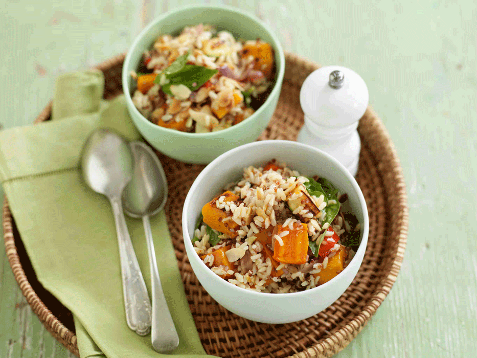 Brown rice and quinoa salad with roast vegetables