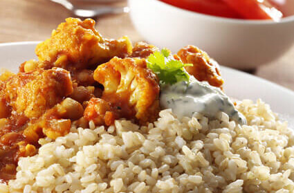 Cauliflower and chickpea curry on rice