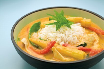 Chicken laksa with jasmine rice