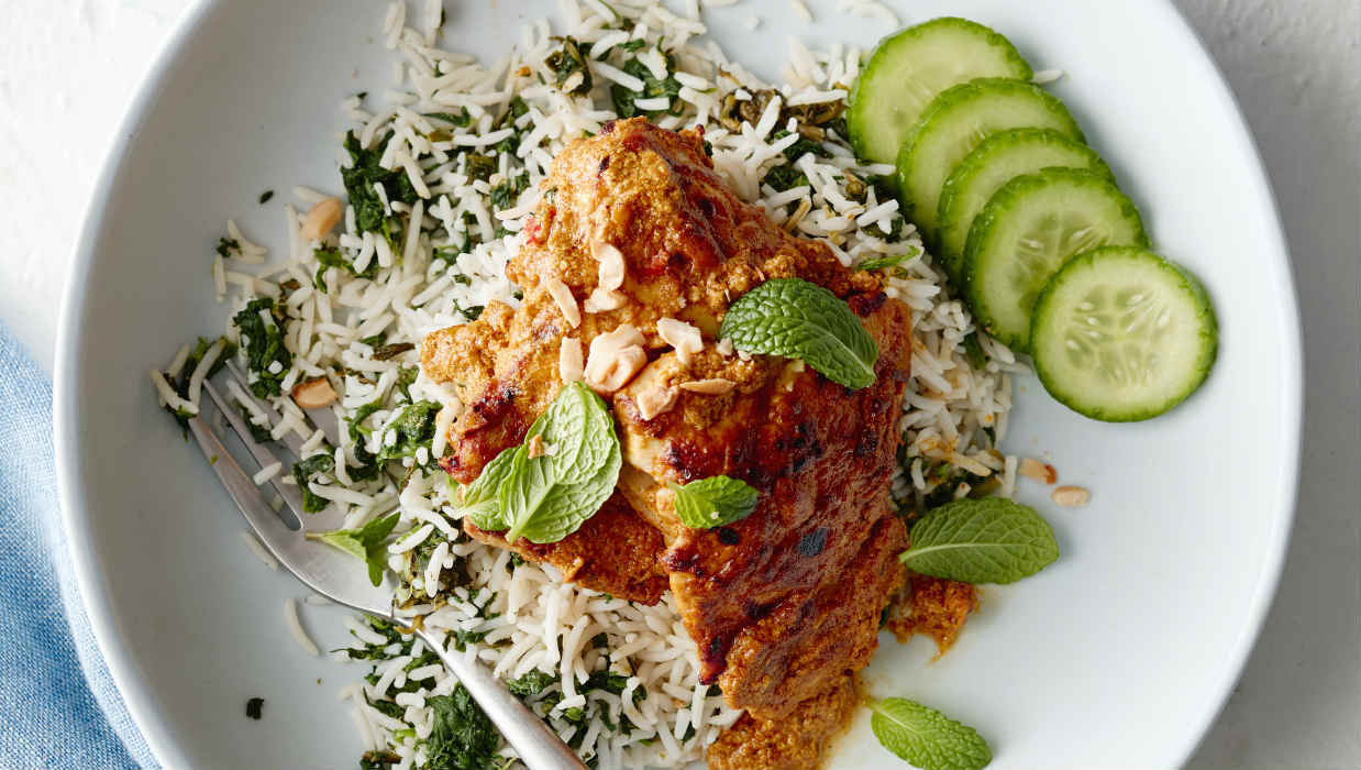 Chicken madras with spinach rice