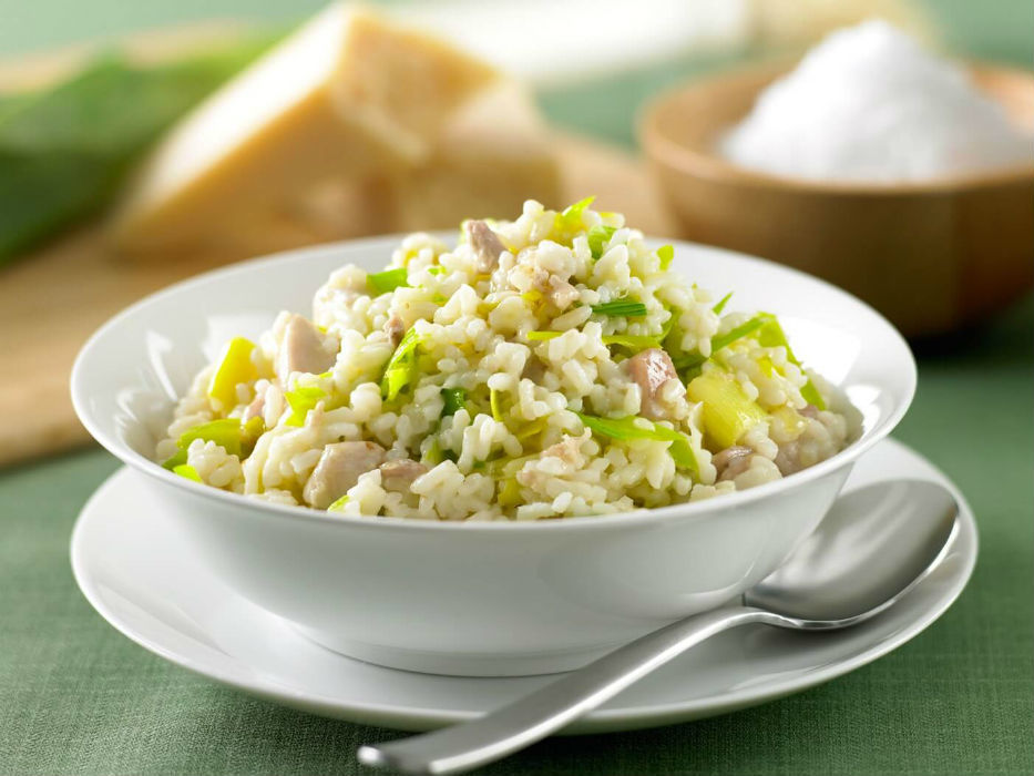 Creamy leek and chicken risotto