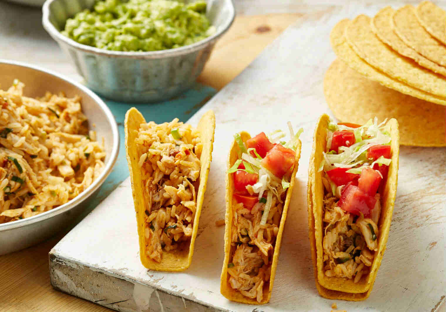 Mexican rice and chicken tacos