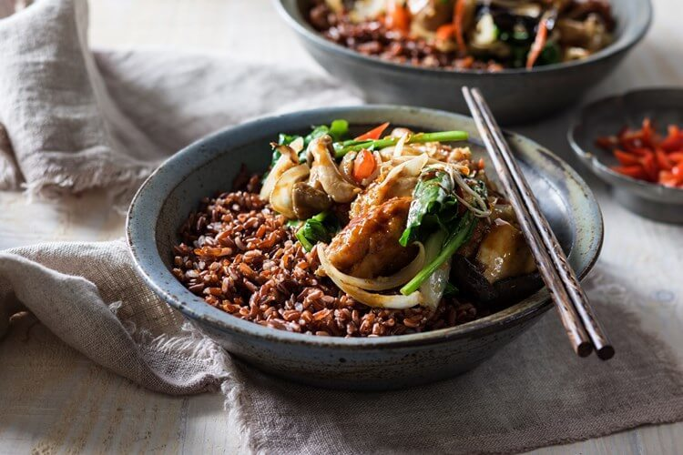 Bhutanese chilli chicken stir fry on black rice