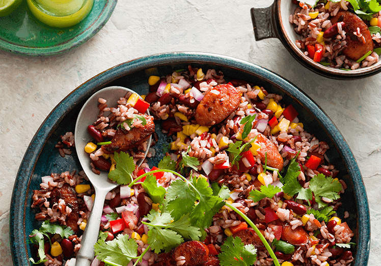Mexican chorizo and rice salad