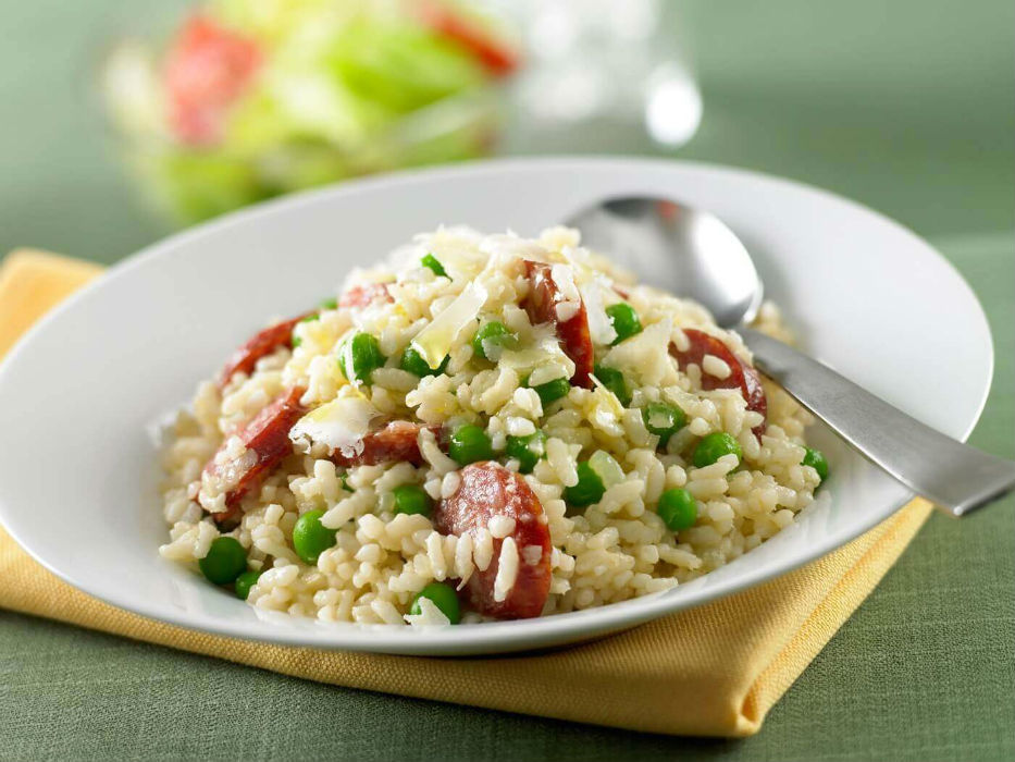 Green pea and chorizo risotto