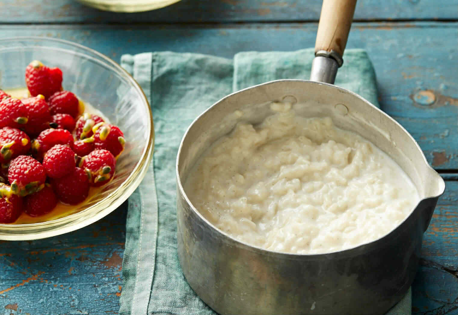 Coconut milk rice pudding with raspberries
