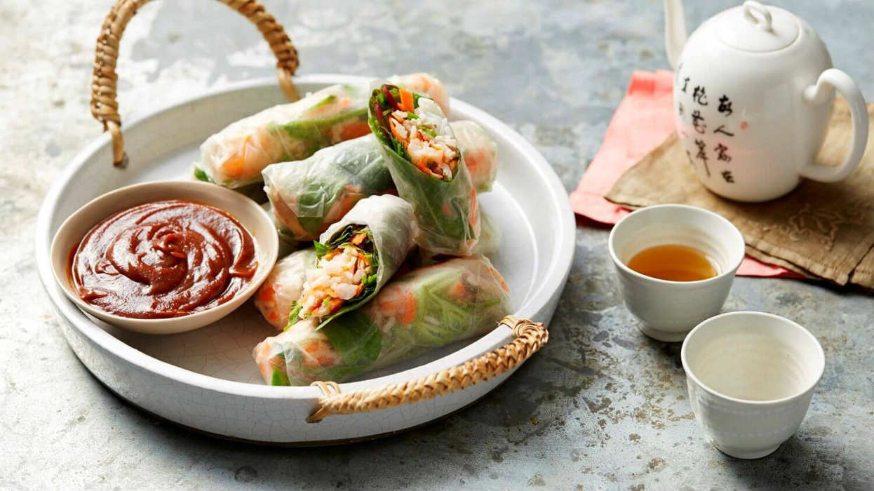 Easy rice paper rolls with jasmine rice