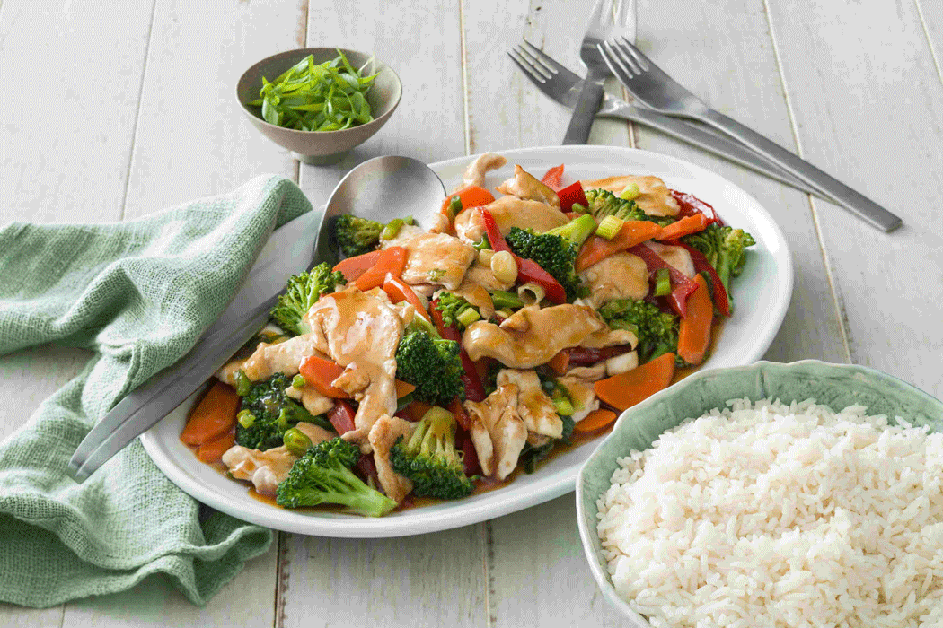 Honey soy chicken stir fry with vegetables and rice