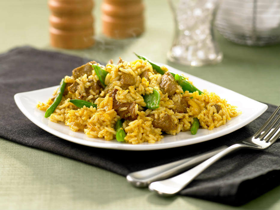 Lamb rice with greens