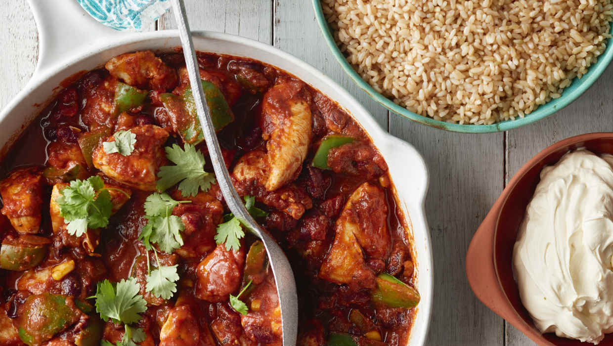 Fast mexican chicken with brown rice