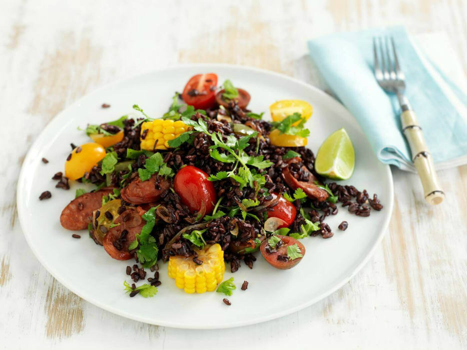 Mexican rice salad with black rice and vegetables