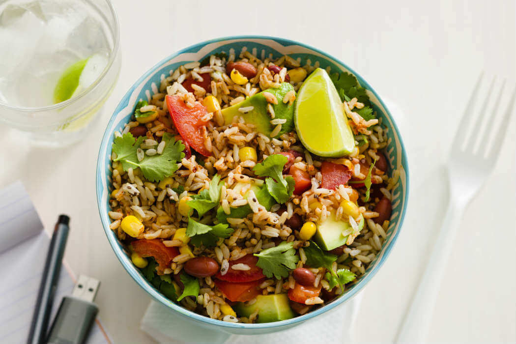 Mexican rice salad with vegetables