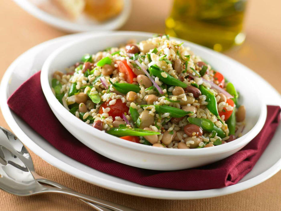 Brown rice and mixed bean salad