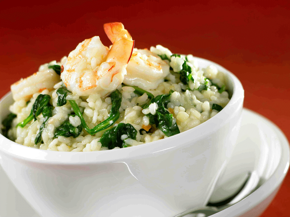 Prawn risotto with spinach