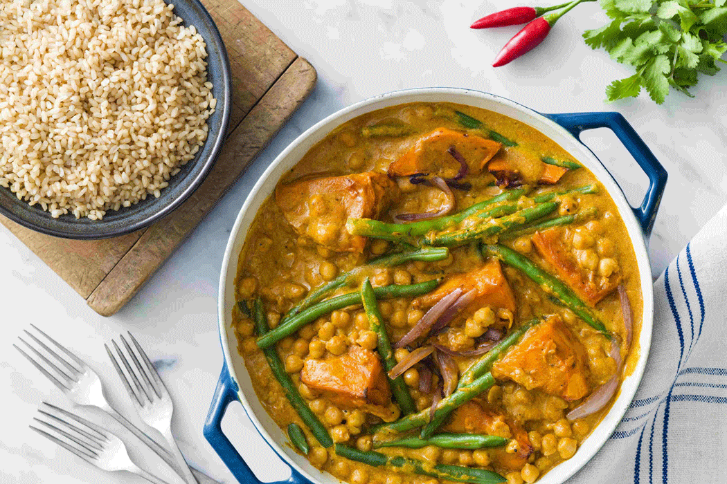 Pumpkin and chickpea curry with beans and rice