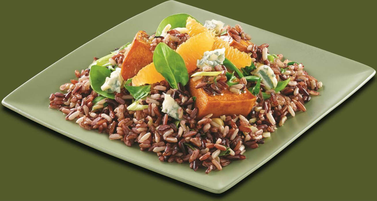 Orange and roasted pumpkin black rice salad