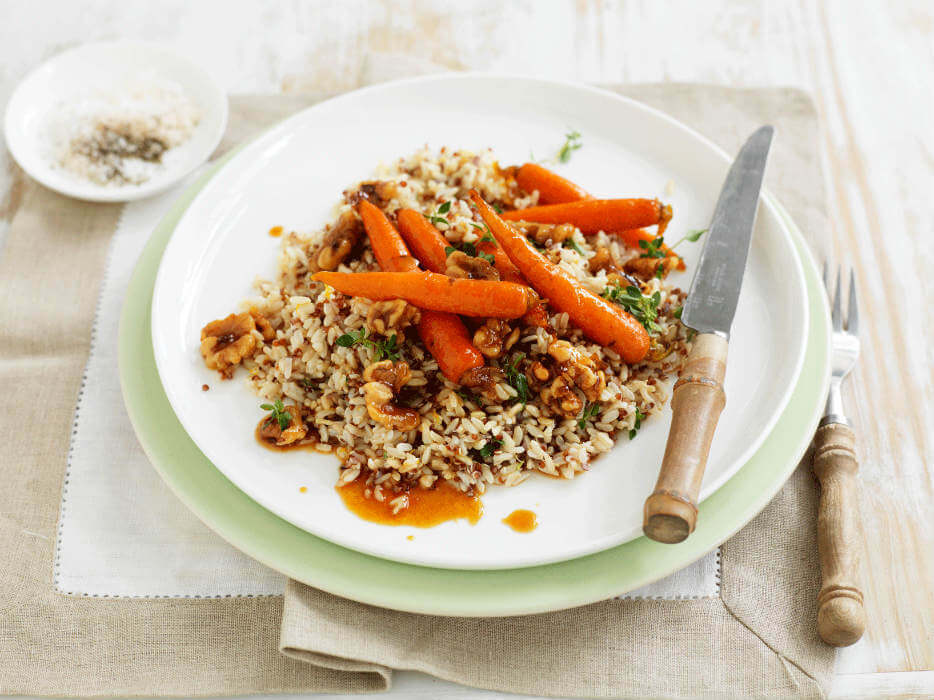 Citrus quinoa rice with maple glazed carrots
