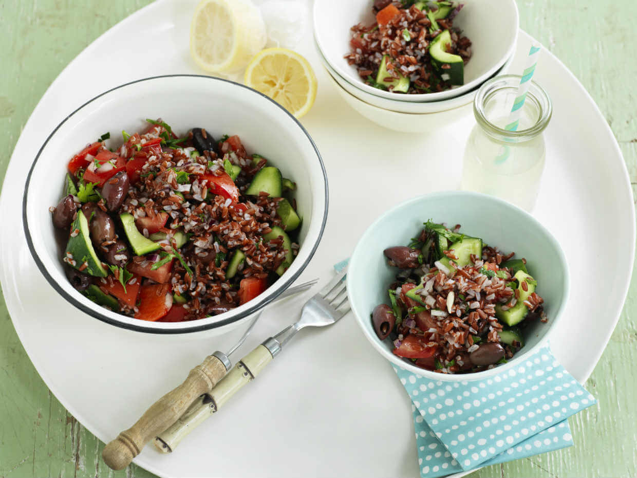 Mediterranean red rice salad