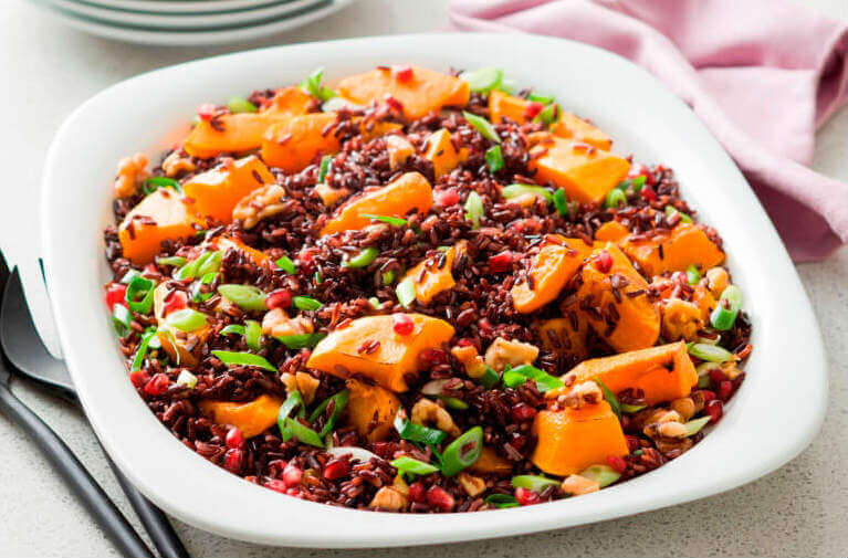 Walnut and roast pumpkin salad with rice