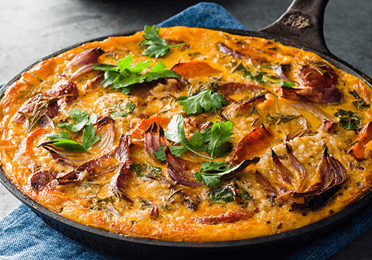 Chorizo and roast vegetable frittata