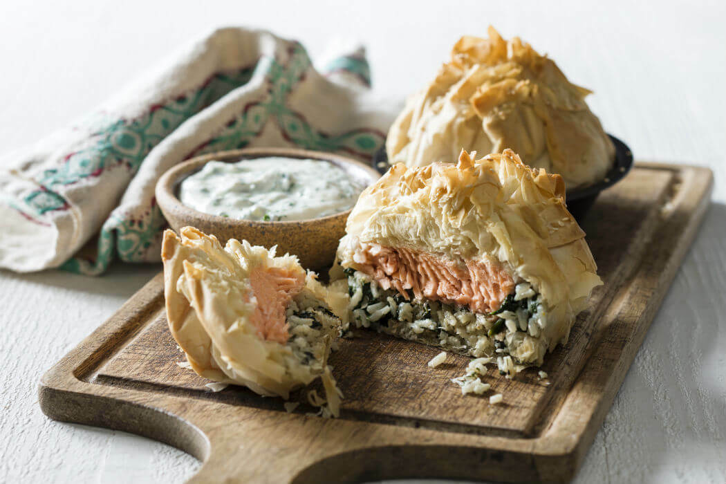 Salmon pilaf pockets