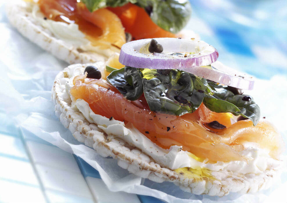 Salmon on rice cakes