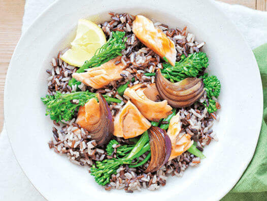 Soy glazed salmon with rice