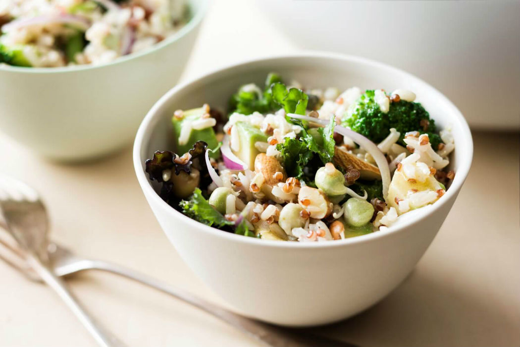 Superfood salad with vegetables and rice