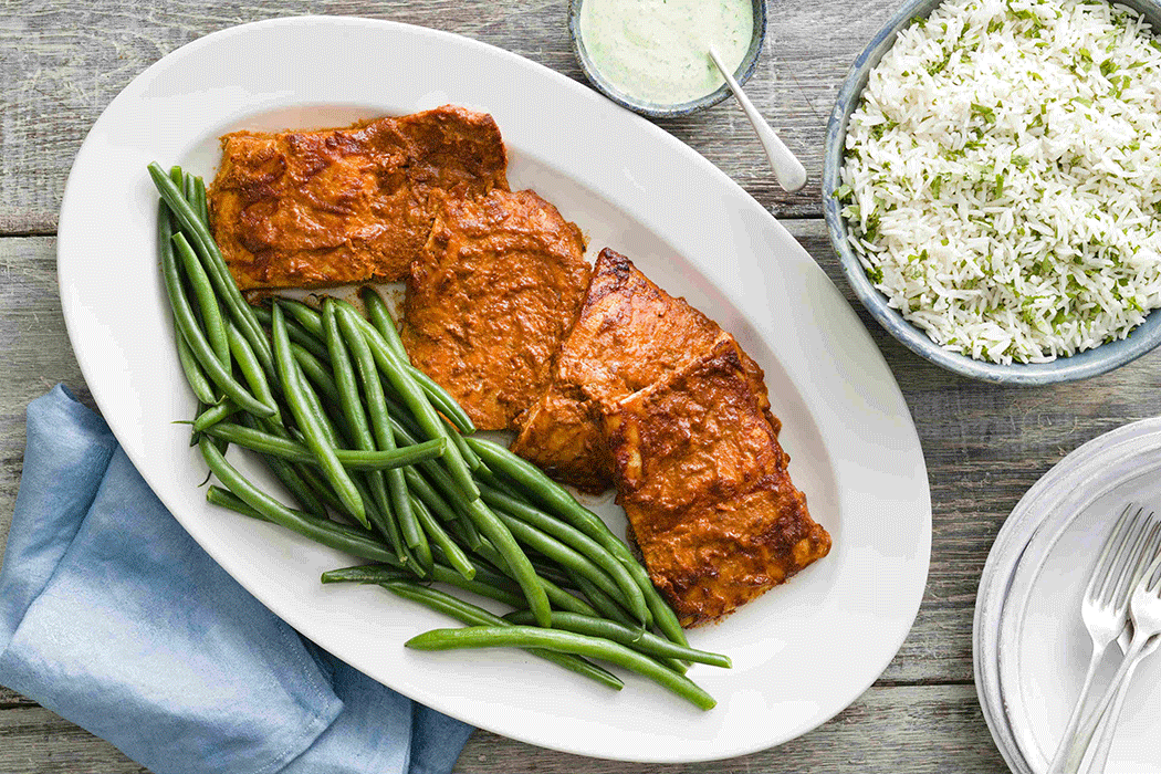 Tandoori fish with green beans and rice