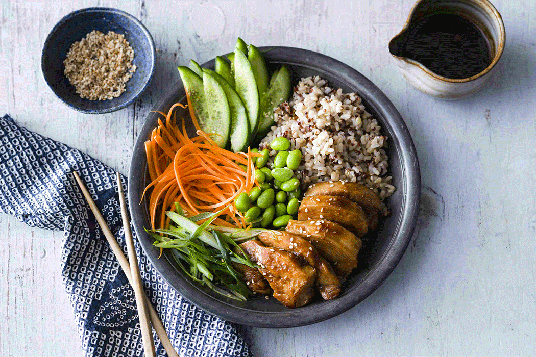 Teriyaki chicken bowl with vegetables, rice and quinoa