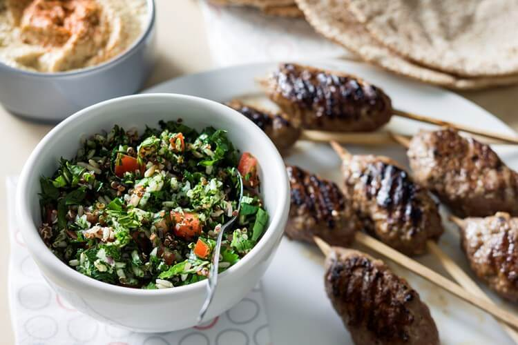 Turkey kofta with quinoa and rice tabouli