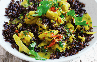 Yellow curry with black rice